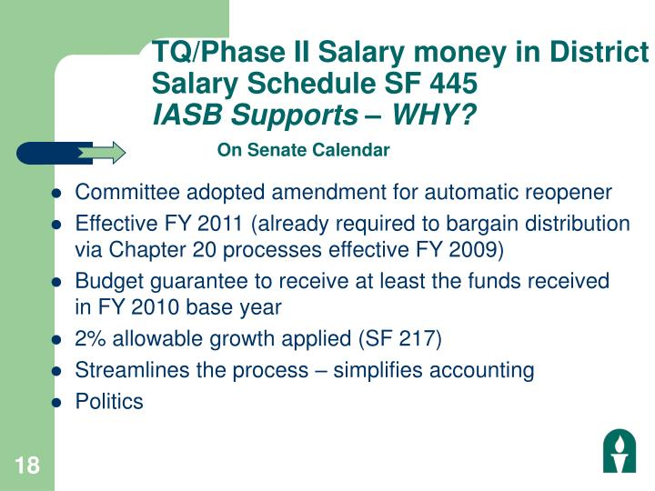 TQ/Phase II Salary money in District Salary Schedule SF 445