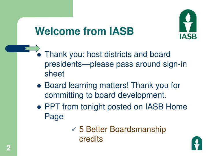 Welcome from iasb