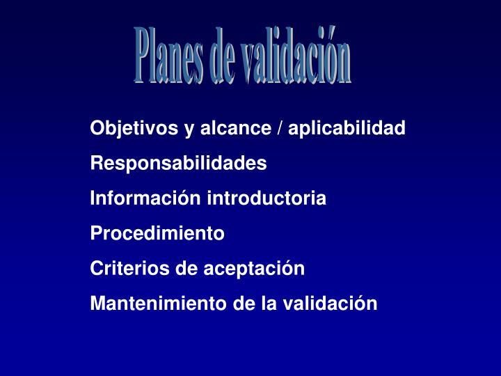 Planes de validación