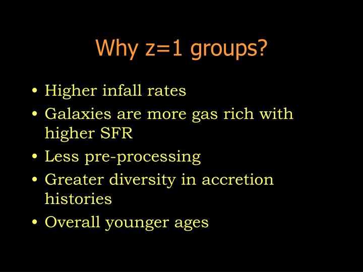 Why z=1 groups?