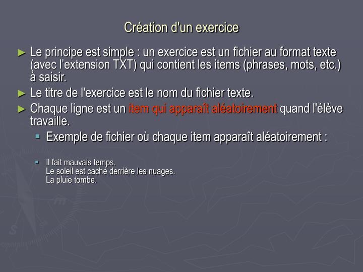 Création d'un exercice