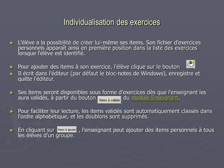 Individualisation des exercices