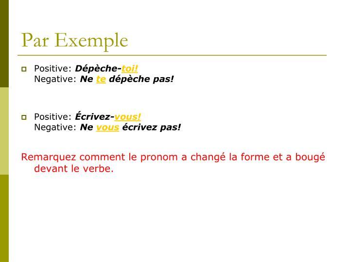 Par Exemple