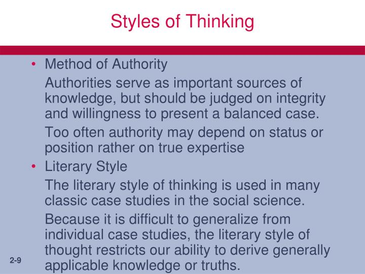 Styles of Thinking