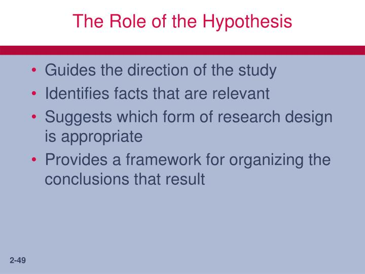 The Role of the Hypothesis