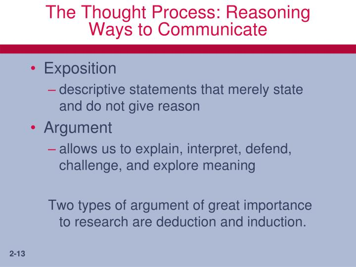 The Thought Process: Reasoning