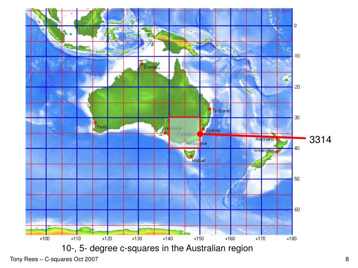 10-, 5- degree c-squares in the Australian region