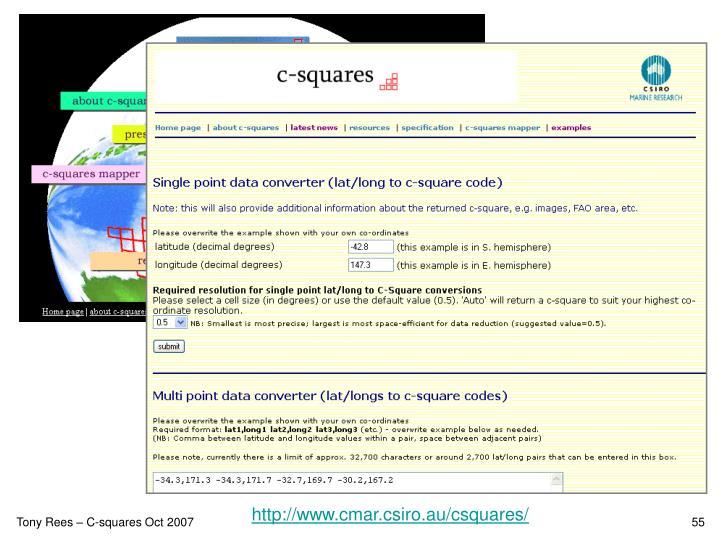 http://www.cmar.csiro.au/csquares/