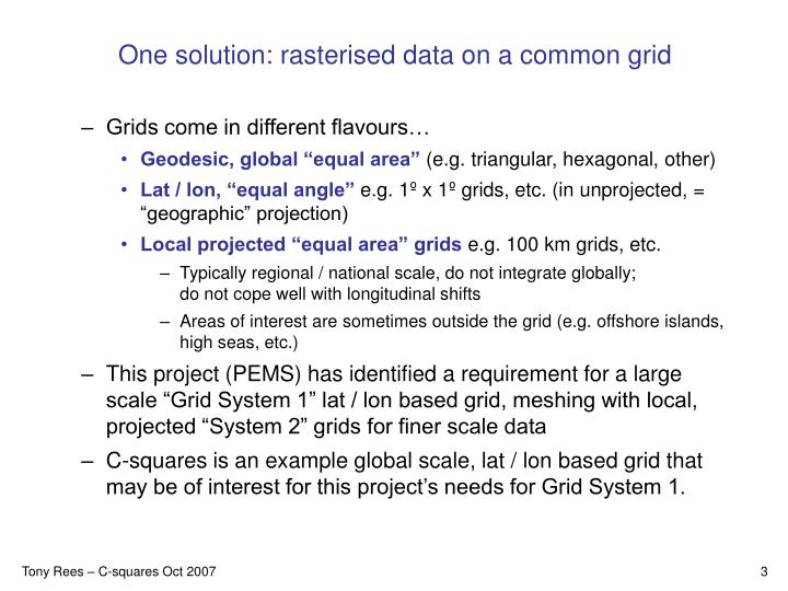 One solution rasterised data on a common grid