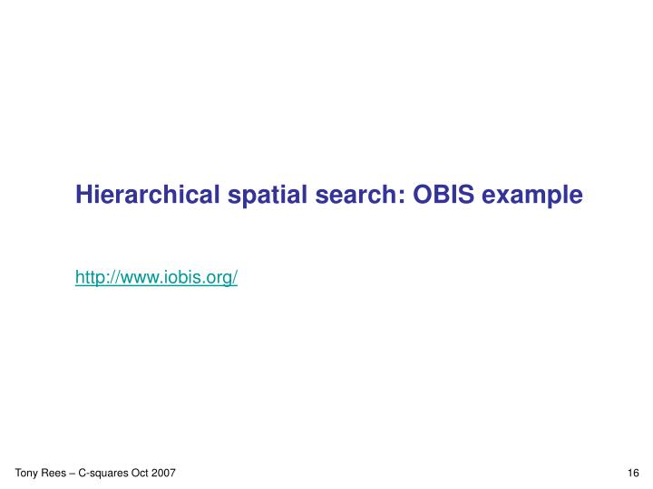 Hierarchical spatial search: OBIS example