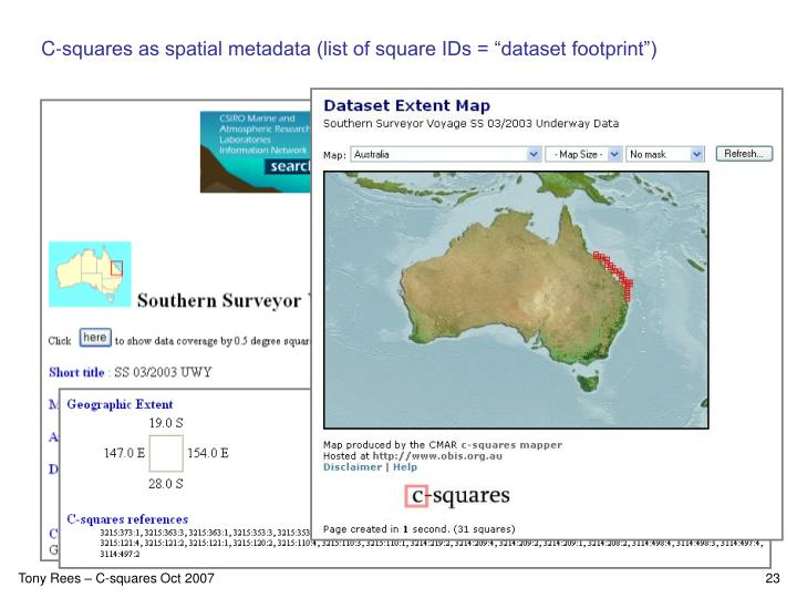 "C-squares as spatial metadata (list of square IDs = ""dataset footprint"")"