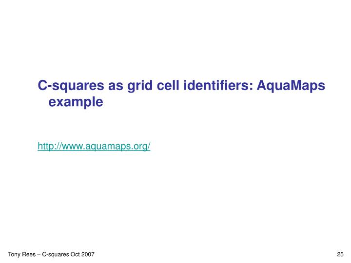 C-squares as grid cell identifiers: AquaMaps example