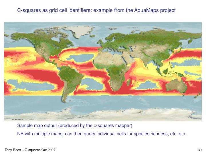 C-squares as grid cell identifiers: example from the AquaMaps project