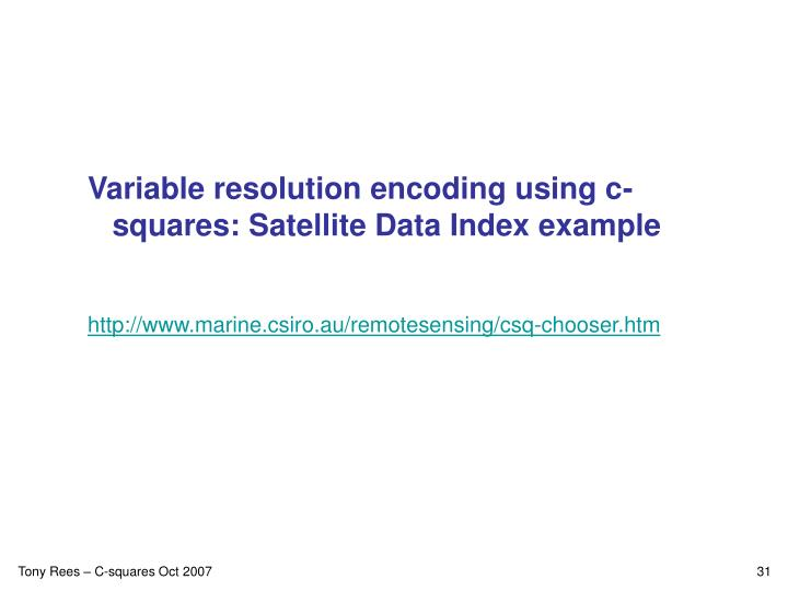 Variable resolution encoding using c-squares: Satellite Data Index example