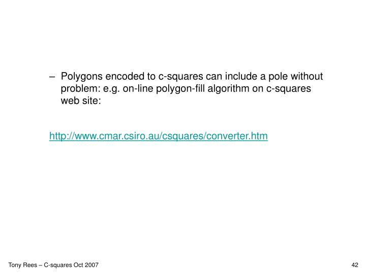 Polygons encoded to c-squares can include a pole without problem: e.g. on-line polygon-fill algorithm on c-squares web site: