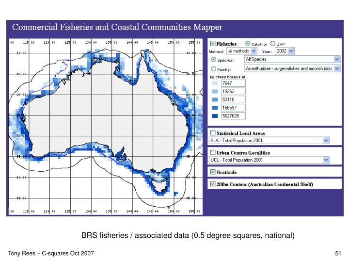 BRS fisheries / associated data (0.5 degree squares, national)