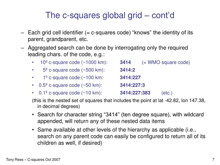 The c-squares global grid – cont'd