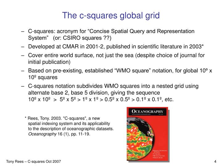 The c-squares global grid