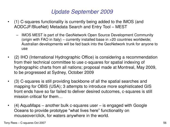Update September 2009