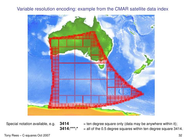 Variable resolution encoding: example from the CMAR satellite data index