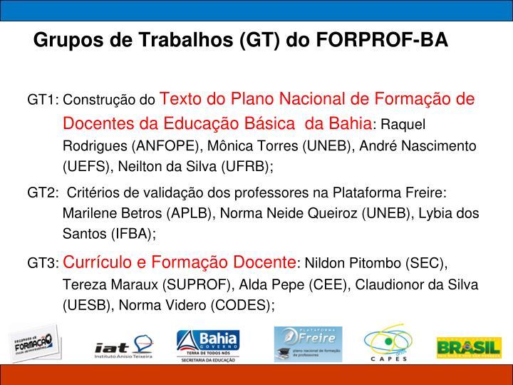 Grupos de Trabalhos (GT) do FORPROF-BA
