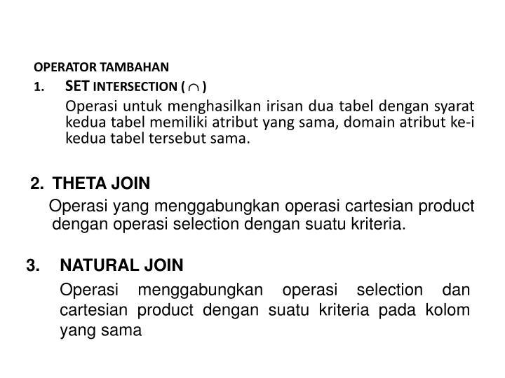 OPERATOR TAMBAHAN