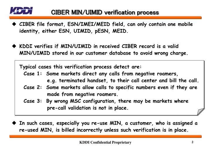 CIBER MIN/UIMID verification process