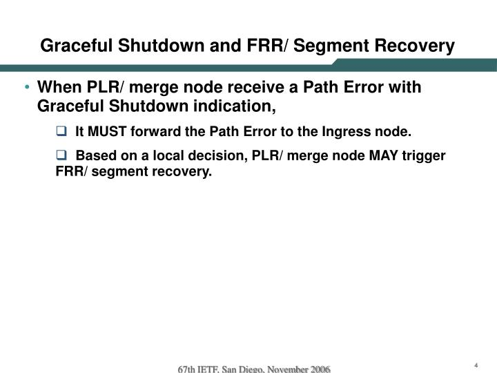 Graceful Shutdown and FRR/ Segment Recovery