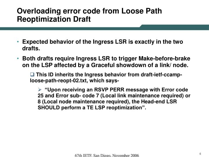 Overloading error code from Loose Path Reoptimization Draft
