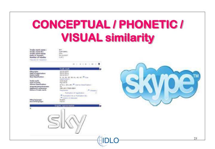 CONCEPTUAL / PHONETIC / VISUAL similarity