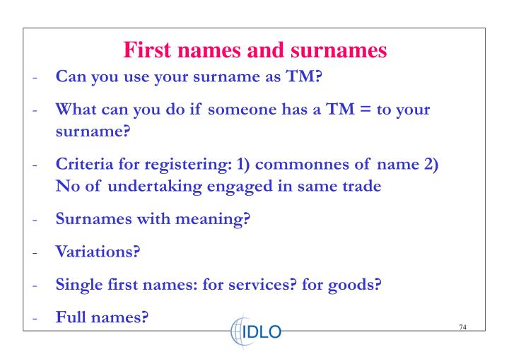 First names and surnames