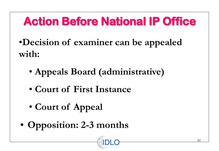 Action Before National IP Office