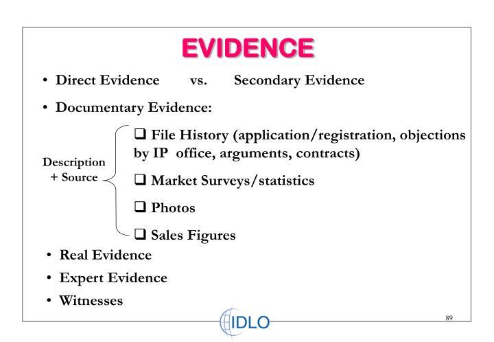 Direct Evidence        vs.       Secondary Evidence