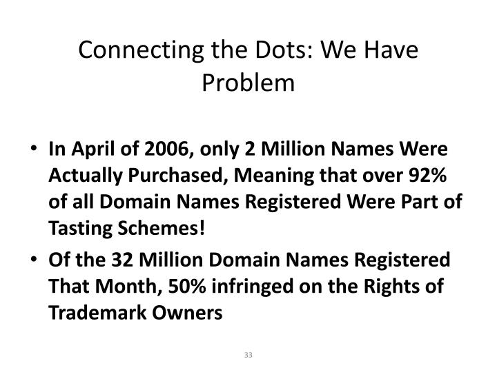 Connecting the Dots: We Have  Problem
