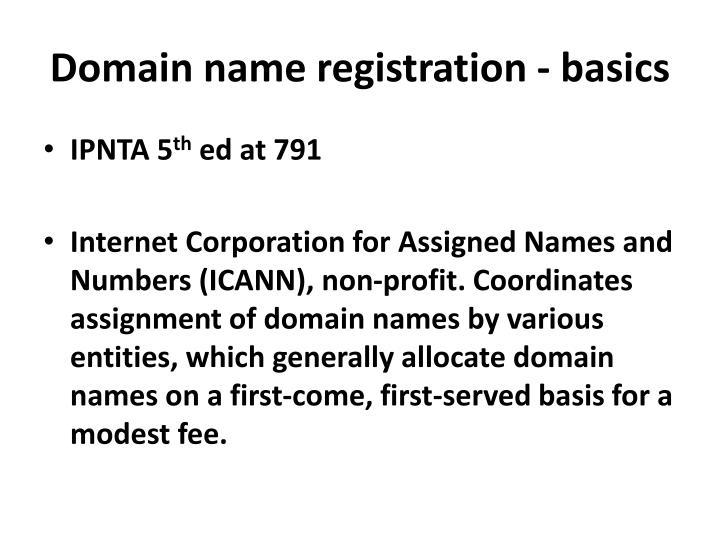 Domain name registration - basics