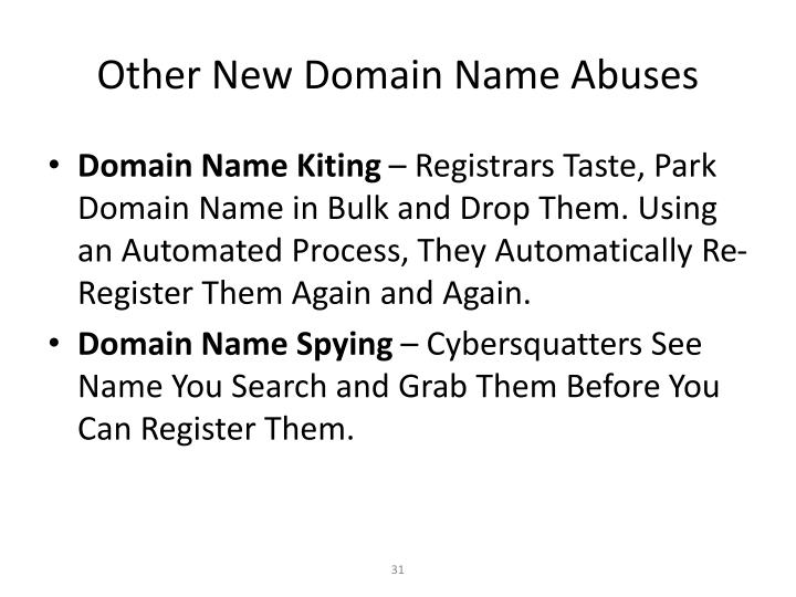 Other New Domain Name Abuses