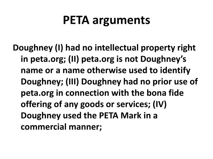 PETA arguments