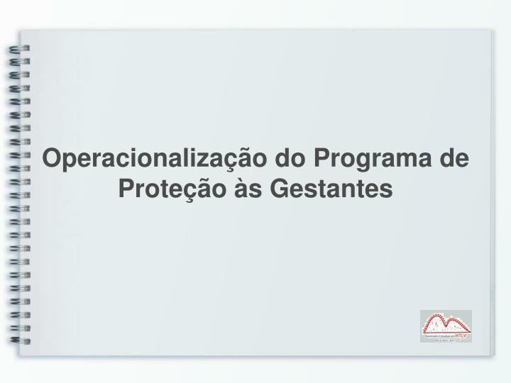 Operacionalização do Programa de Proteção às Gestantes