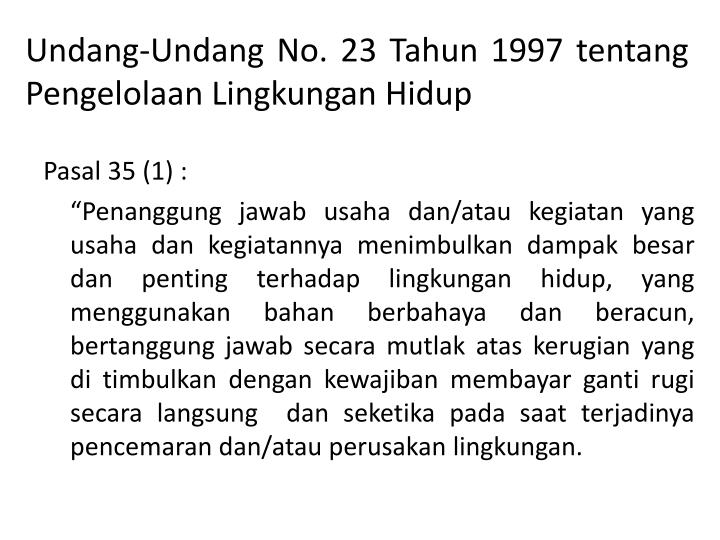 Undang-Undang No. 23 Tahun 1997 tentang Pengelolaan Lingkungan Hidup