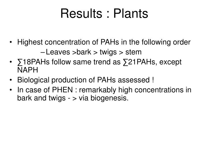 Results : Plants
