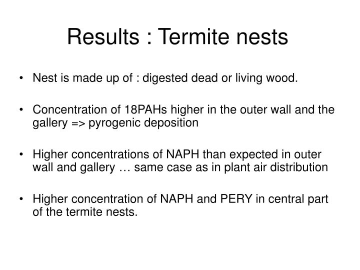 Results : Termite nests