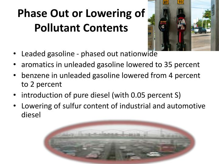 Phase Out or Lowering of Pollutant Contents