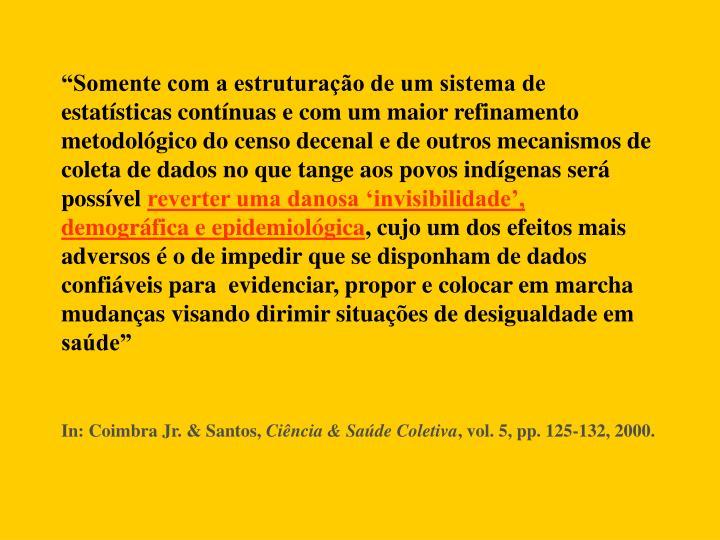 """""""Somente com a estruturação de um sistema de estatísticas contínuas e com um maior refinamento metodológico do censo decenal e de outros mecanismos de coleta de dados no que tange aos povos indígenas será possível"""