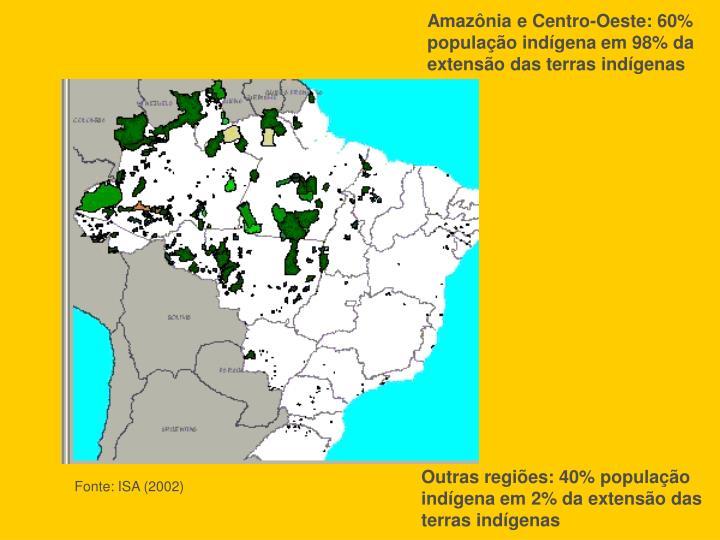 Amazônia e Centro-Oeste: 60% população indígena em 98% da extensão das terras indígenas