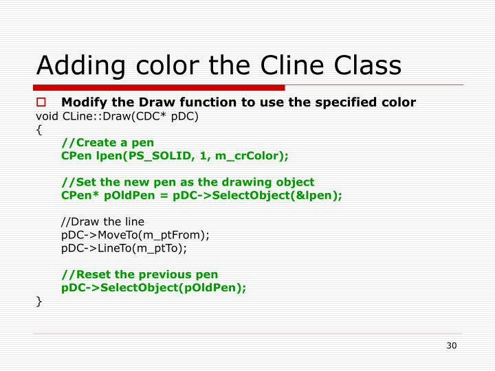 Adding color the Cline Class