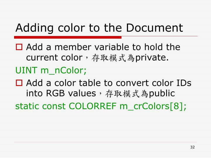 Adding color to the Document