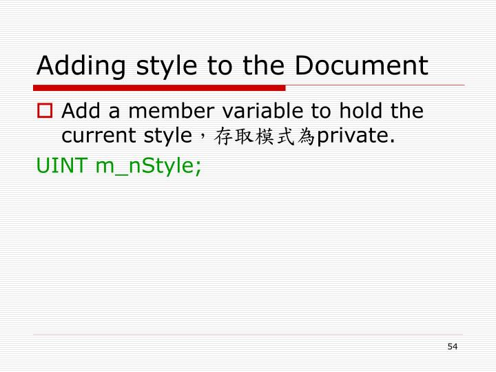 Adding style to the Document