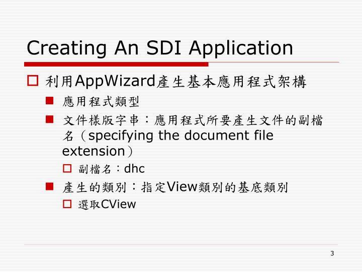 Creating An SDI Application