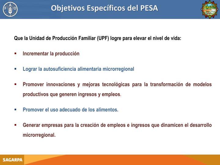 Objetivos Específicos del PESA