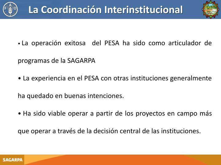 La Coordinación Interinstitucional